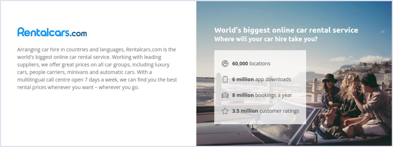 Exact figures at car rental website Rentalcars.com