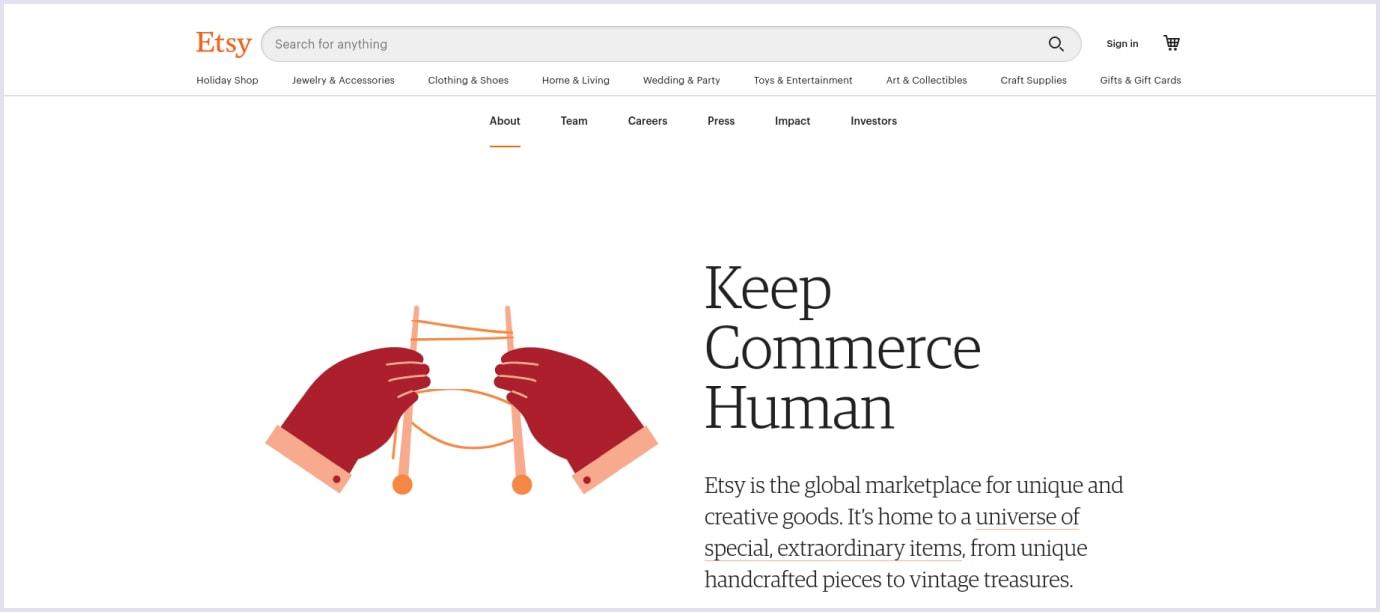Global marketplace example: Etsy