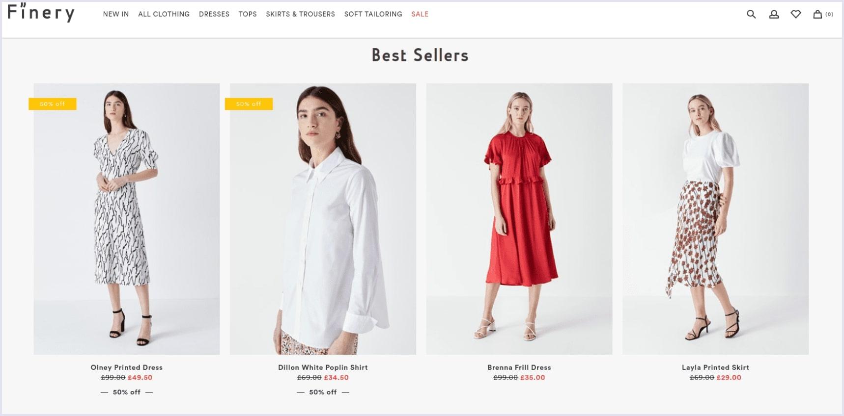 e-commerce site on spree Finery London | Codica