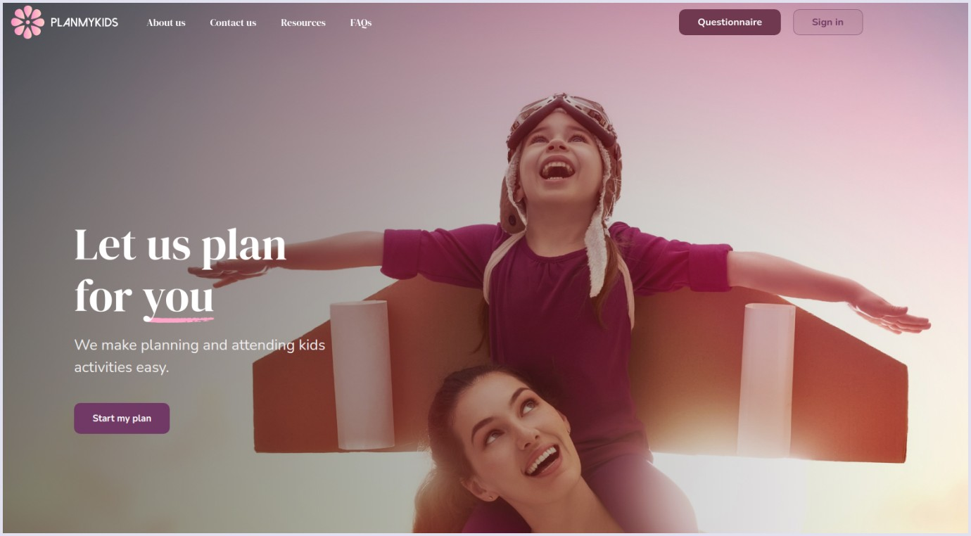 Intuitive UX/UI design of online marketplace for kids PlanMyKids