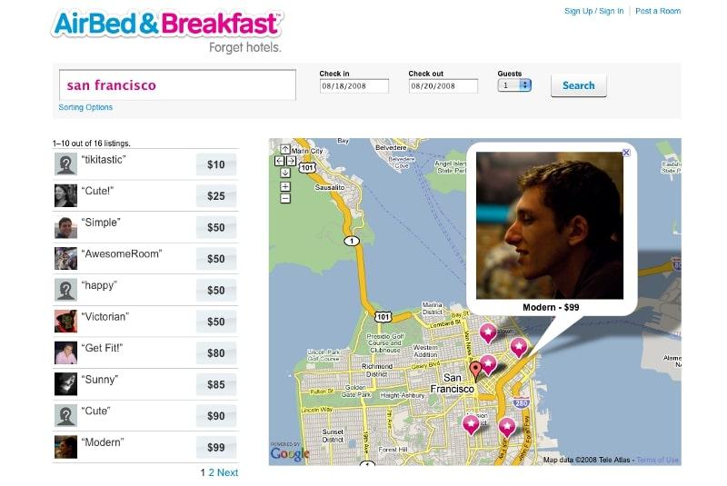MVP website of Airbnb