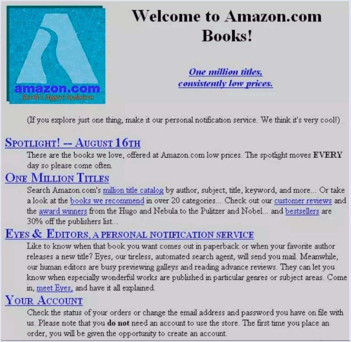 Online marketplaces: Amazon early website version | Codica