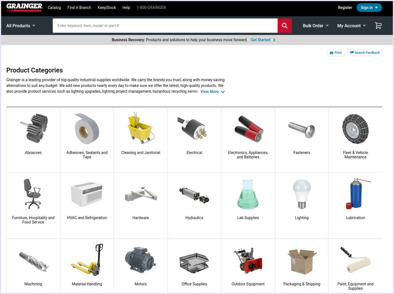 A product catalog on the B2B marketplace website Grainger