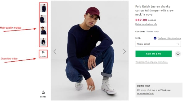 High-quality images as a key marketplace feature on Asos | Codica